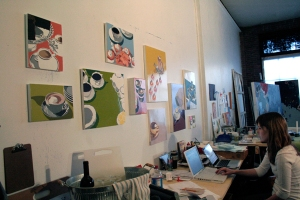 Current MICA Intern Megan Seiter works in the studio of Jordan Faye Contemporary