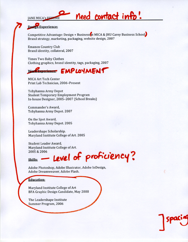 Jane Mica's resume, with edits