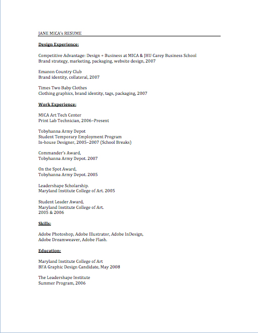 10 March 2011 – Resume Draft